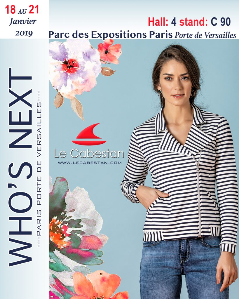 flyer presenting le cabestan girl wearing a striped jacket
