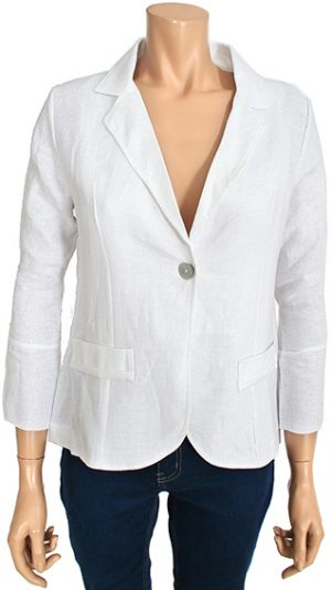 Kalisson White Linen Blazer Jacket with 3 4 Sleeves KA 19v089