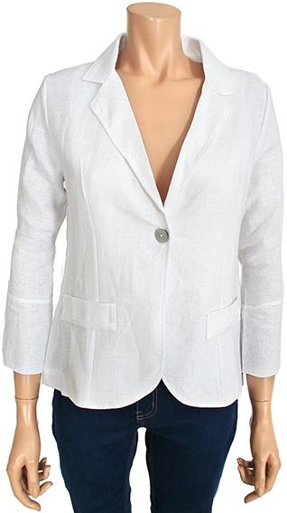 Kalisson White Linen Blazer Jacket with 3 4 Sleeves KA 19v089