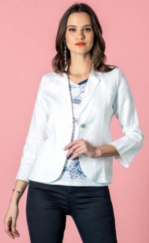 Kalisson White Linen Blazer Jacket with 3 4 Sleeves