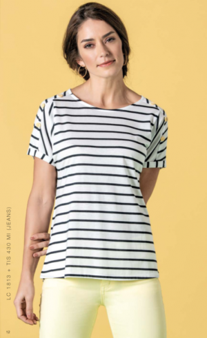 Le Cabestan Striped T-Shirt with Decorative Buttons LC1813
