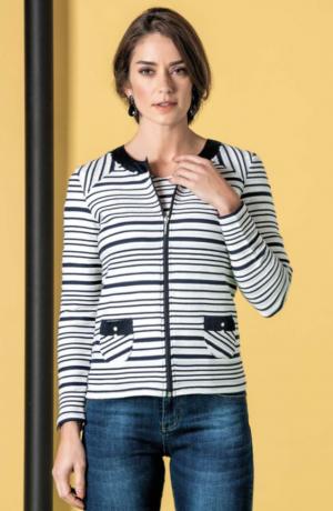 Le Cabestan Striped Jacket Blue Jacquard