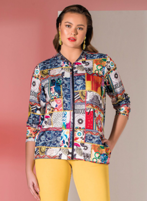 Bagoraz-Multicolored-Jacket-Round-Collar-Zipped