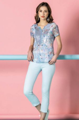 Kalisson Top Printed Flowers in White